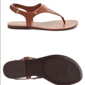 Ralph Lauren Patsi Sandal Flats - cognac - Sz 9